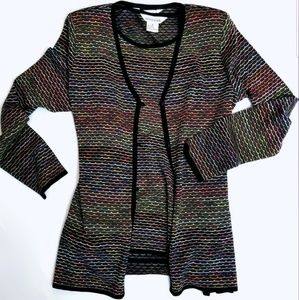Exclusively Misook Rainbow Knit Cardigan Set